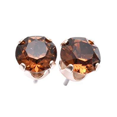 Rose Gold stud earrings expertly made with Smokey Topaz crystal from SWAROVSKI®. FrhHZnZo