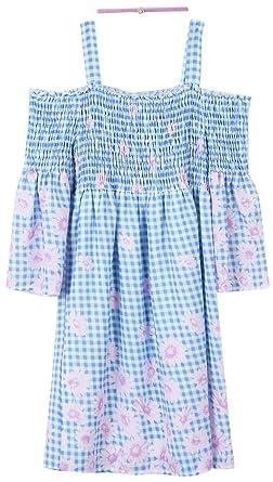 5da1642ab6fd Amazon.com  Speechless Girls  Big Cold Shoulder Dress with Smocked Bodice   Clothing