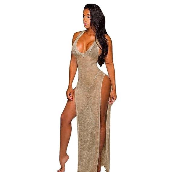 ... Sonnena Sexy Blusa sin Mangas Perspectiva Vestido de Playa Cubrir Cuello-V Transparente Bikini Cover-up: Amazon.es: Ropa y accesorios