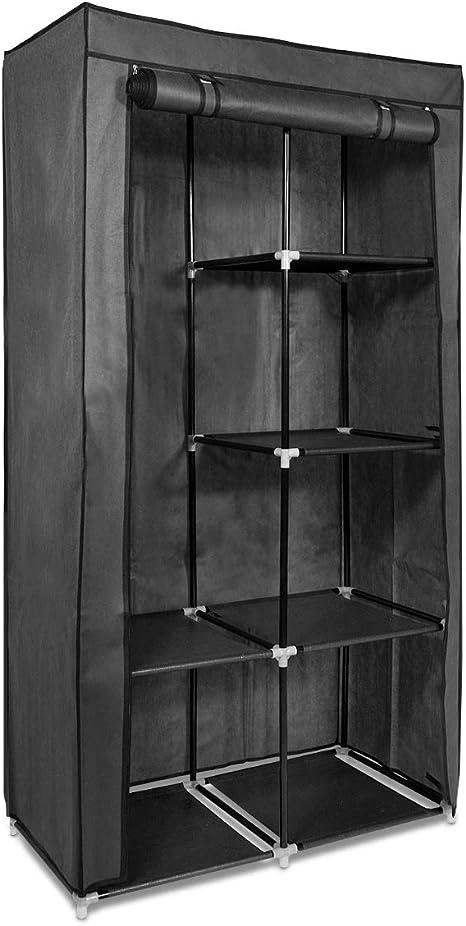 Navaris Armario de Tela Plegable Grande - Ropero con baldas y Barra para Colgar Ropa - 88 x 170 x 45 CM - Perchero Organizador para Dormitorio Gris