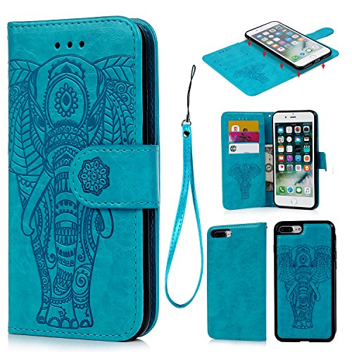 iPhone 7 Plus Case, iPhone 8 Plus Wallet Case, Embossed Elephant PU Leather with 2 in 1 Detachable Cover Folio Flip Magnetic Blocking Card Slot Kickstand Wrist Strap Shock Absorption Case, Blue - Embossed Elephant