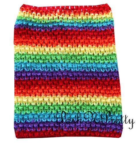 PoshNPretty Crochet Tutu Fairy Princess Pettiskirt Halter Waffle Tube Top - RAINBOW -