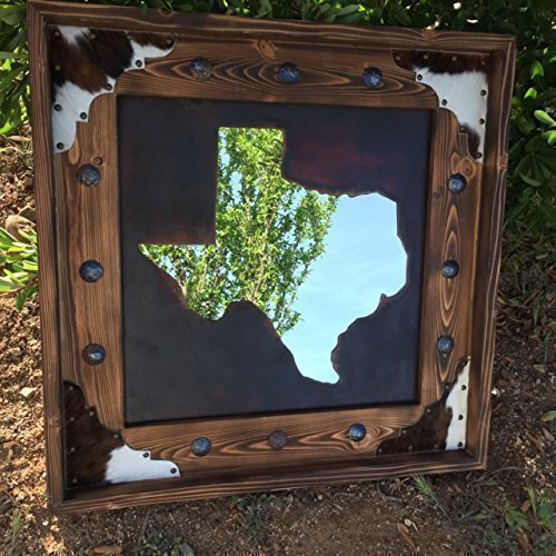 Western Decor Rustic State of TEXAS Metal Cut out Wood Cowhide Mirror Frame, Name your STATE (Cut Rustic Metal Out)