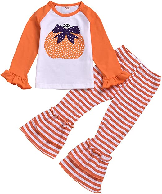 WARMSHOP Toddler Girl Little Sister Letter Print Long Sleeve Cotton Tops Romper Striped Floral Pants+Headbands Outfits