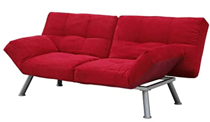 Amazon.com: DHP Kaila Sofa Sleeper Convertible Futon Bed With Adjustable  Armrests, Slanted Metal Legs And Splitback   Red: Home U0026 Kitchen