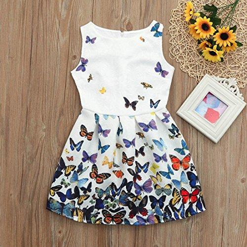 Prevently Kleider für Mädchen Prinzessin Print Kleid Blumenkinder Kinder Mädchen Prinzessin Blumendruck Sleeveless Kleidung Kleid Weiß