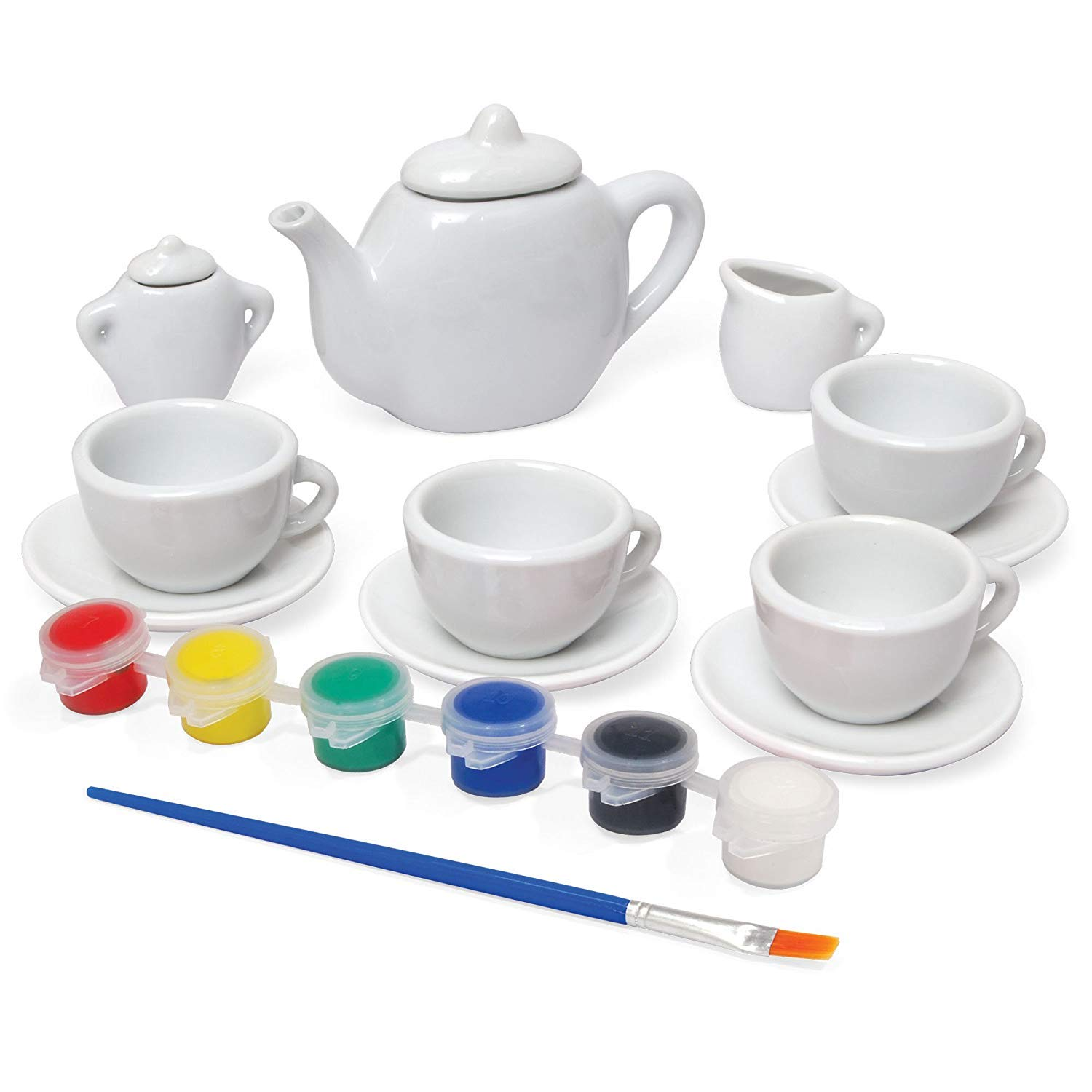 13 Pieces Paint Your Own Porcelain Ceramic Tea Set Girls Kids Kitchen Playset Tea Party Children Activities, Party Favors, Home Decoration coolbitz 1176844