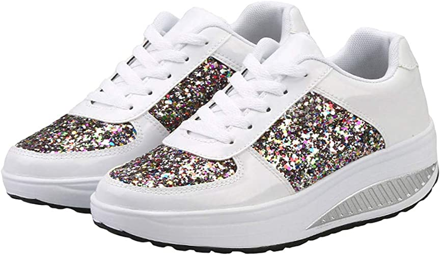 Womens Trainers Lace-Up Sports Casual
