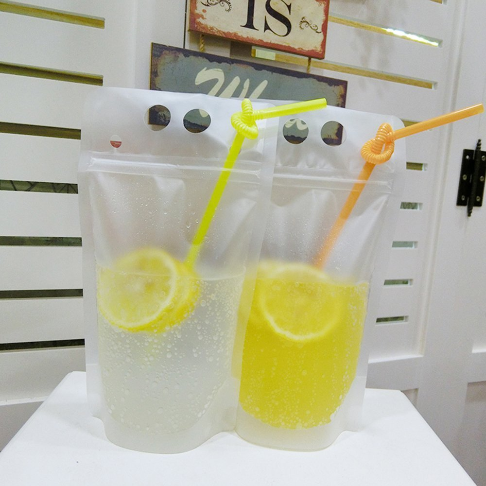 Beverage Pouch with Plastic Straw 50 Set per Pack Hand-held Clear Frosted Reclosable Zipper Stand Up Juice Drink Bag