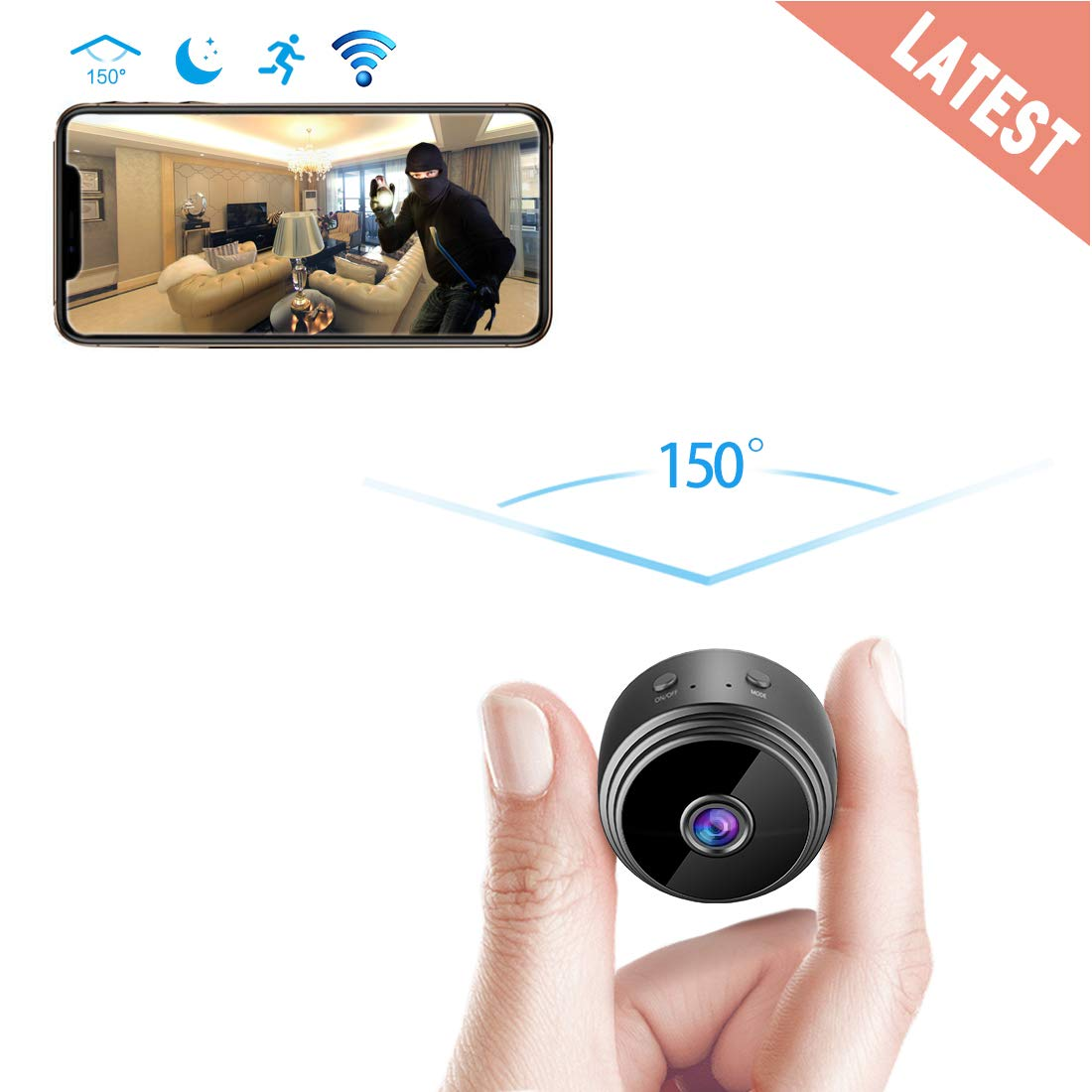 Spy Camera Wireless Hidden WiFi Camera AREBI HD 1080P Mini Camera Portable Home Security Cameras Covert Nanny Cam Small Indoor Video Recorder Motion Activated/Night Vision A10 Plus [2019 Upgraded]