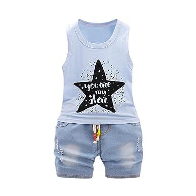 289062c29 FeiliandaJJ Baby Boys Clothes Set, 2pcs Toddler Summer Cute Star Letter  Printed Sleeveless T-Shirt Tops Denim Shorts Pants Outfits Set: Amazon.co.uk:  ...