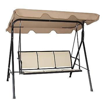 tangkula 3 person patio swing glider outdoor swing hammock glider chair  brown  amazon     tangkula 3 person patio swing glider outdoor swing      rh   amazon