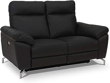 Ibbe Design Schwarz Leder 2er Sitzer Relaxsofa Couch Mit Elektrisch Verstellbar Relaxfunktion Heimkino Sofa Doha Mit Fussteil Federkern 162x96x101 Cm Amazon De Kuche Haushalt