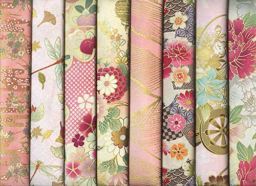 8 Pink Asian Japanese Fat Quarter Quilt Fabric Bundle II: 2 Yards