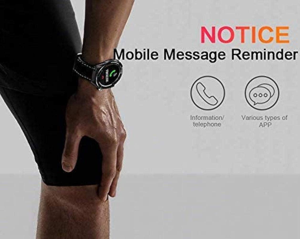 Touchscreen impermeabile SmartWatch Bluetooth GPS Sport Sport Salute Pu Grey Bracciale In Acciaio Nero