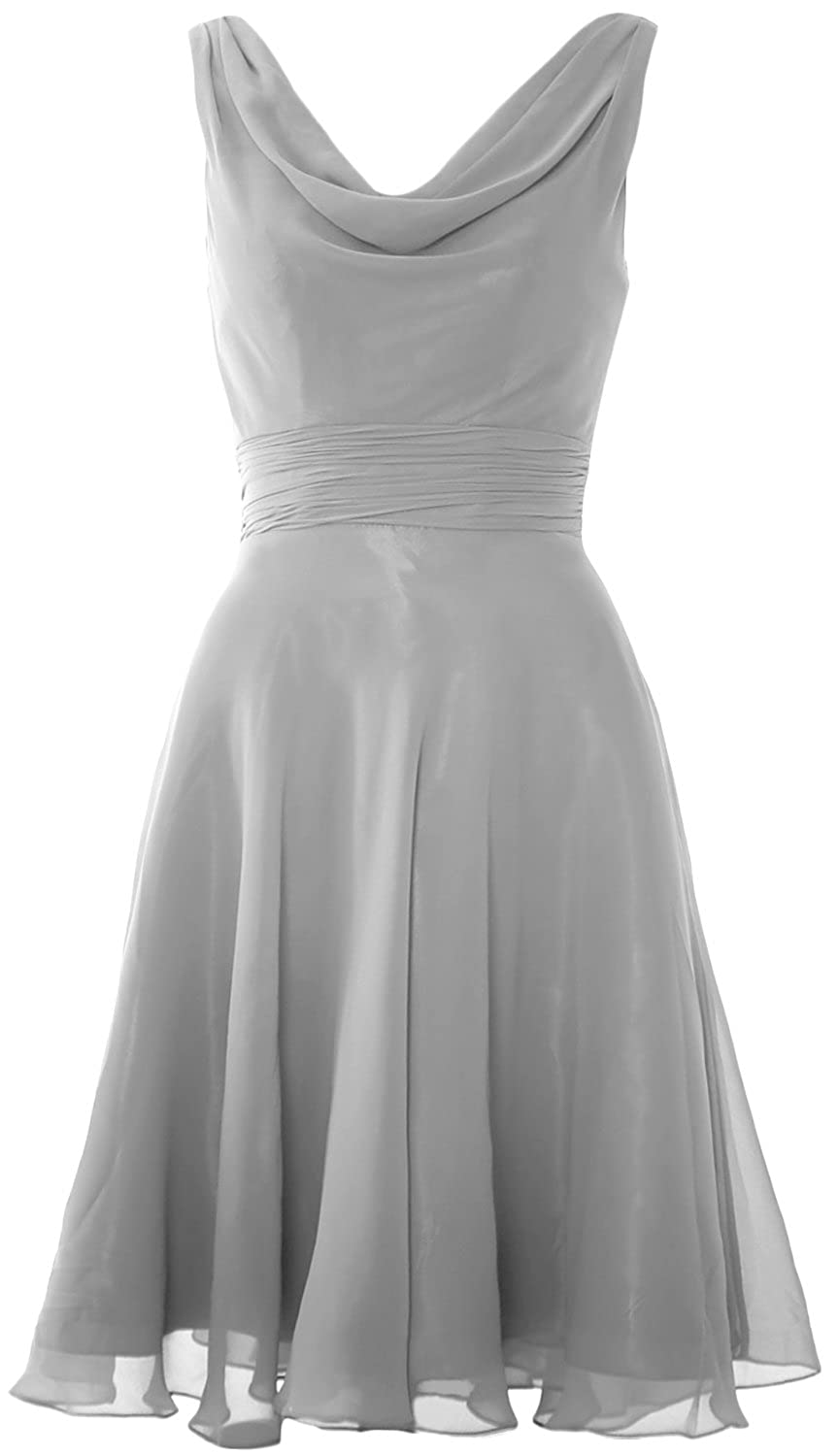 MACloth Women Cowl Neck Short Cocktail Dress Wedding Party Bridesmaid Gown