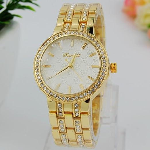 Belleza regalo Envío gratis 2015 Nuevo Lujo Farril marca cristal acero inoxidable reloj mujeres hombres moda oro disfraz de cuarzo reloj de pulsera: ...