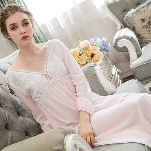 Lindo camisón de algodón de Manga Larga para Mujer, Encaje, Dulce ...