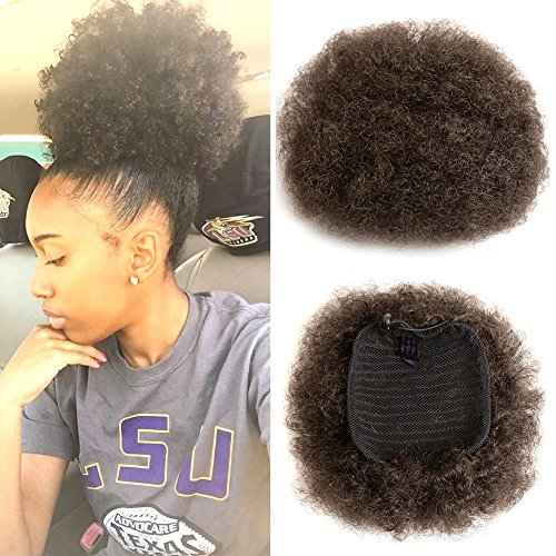 Synthetic Curly Ponytail Afro Kinky Curly Hair Extension Drawstring Ponytail Donut Chignon Wig African American Black Women Short Hairpieces Afro Pom Pom(Color 4#,Size:M)