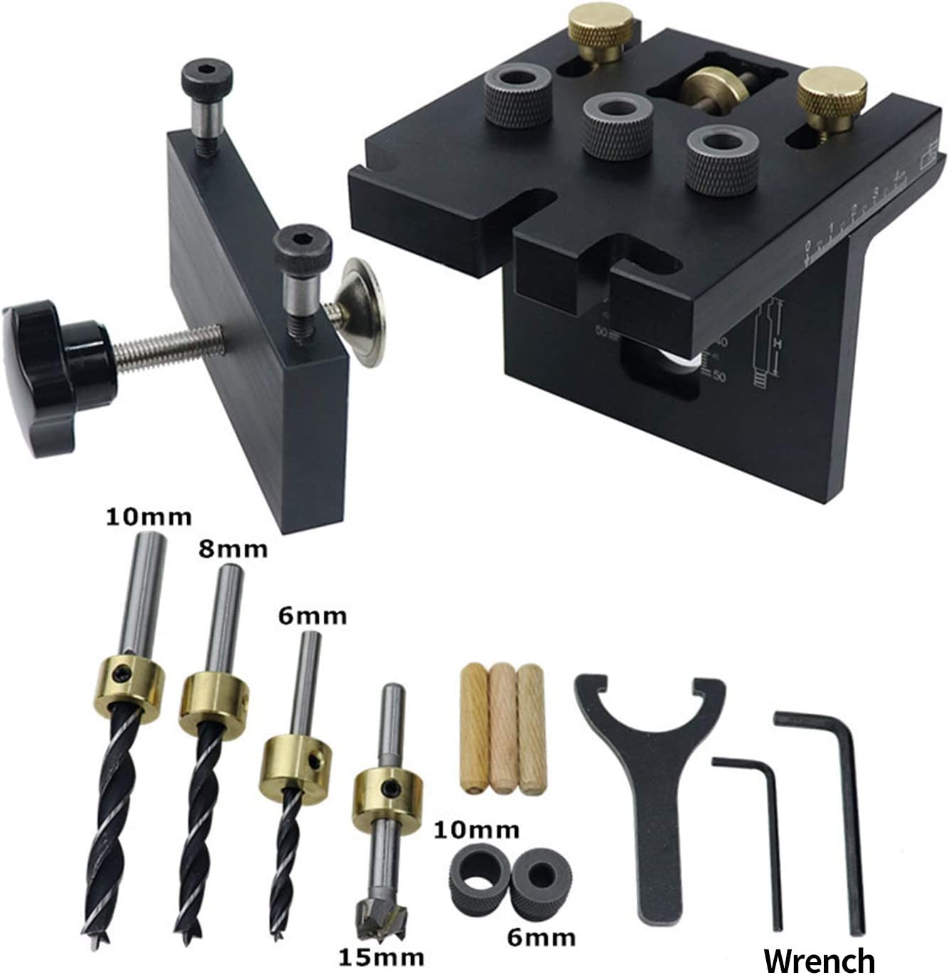 3-in-1 Woodworking Drilling Locator Hole Puncher Self Center Dowel Jig Kit Precision Aluminum Alloy Carpentry Positioning Drilling Kit Wood Working Drill Guide Kit