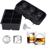 SUNSET Silicone Ice Cube Trays – Set of 2 Large Ice Cube Molds | Square & Sphere Ice Ball Maker for refrigerator | Ice…