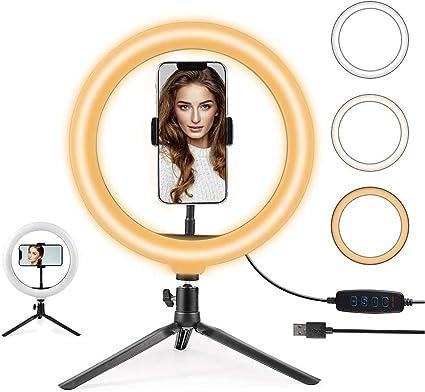Todo para el streamer: Hanbee Anillo de Luz LED 12 Pulgadas fotográfica de Escritorio, 3 Colores 10 Brillos Regulables Wire Control Remoto, Trípode con Soporte Giratorio de teléfono para Selfie, Maquillaje, Youtube, TIK Tok