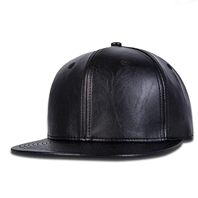 b2f45f7682a ALAMOS Unisex Leather Hip-Hop Cap (Black)  Amazon.in  Clothing   Accessories