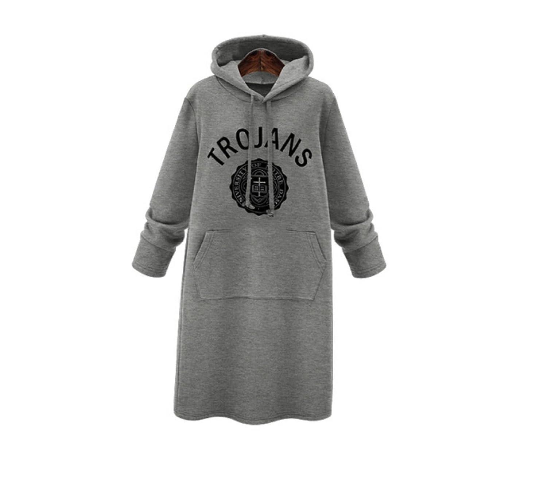 CHLXI Sweater Plus Velvet Epais Grandes Estampes Dans Le Long Pareil Loose Hooded T-shirt Jupe