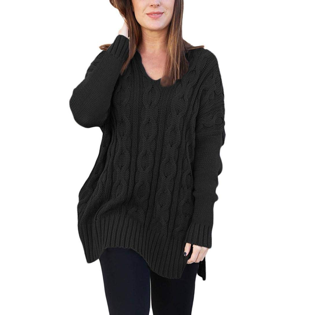 Rambling Women Long Sleeve Casual Knitted V Neck Loose Fit Knit Sweater Pullover Top Side Slits