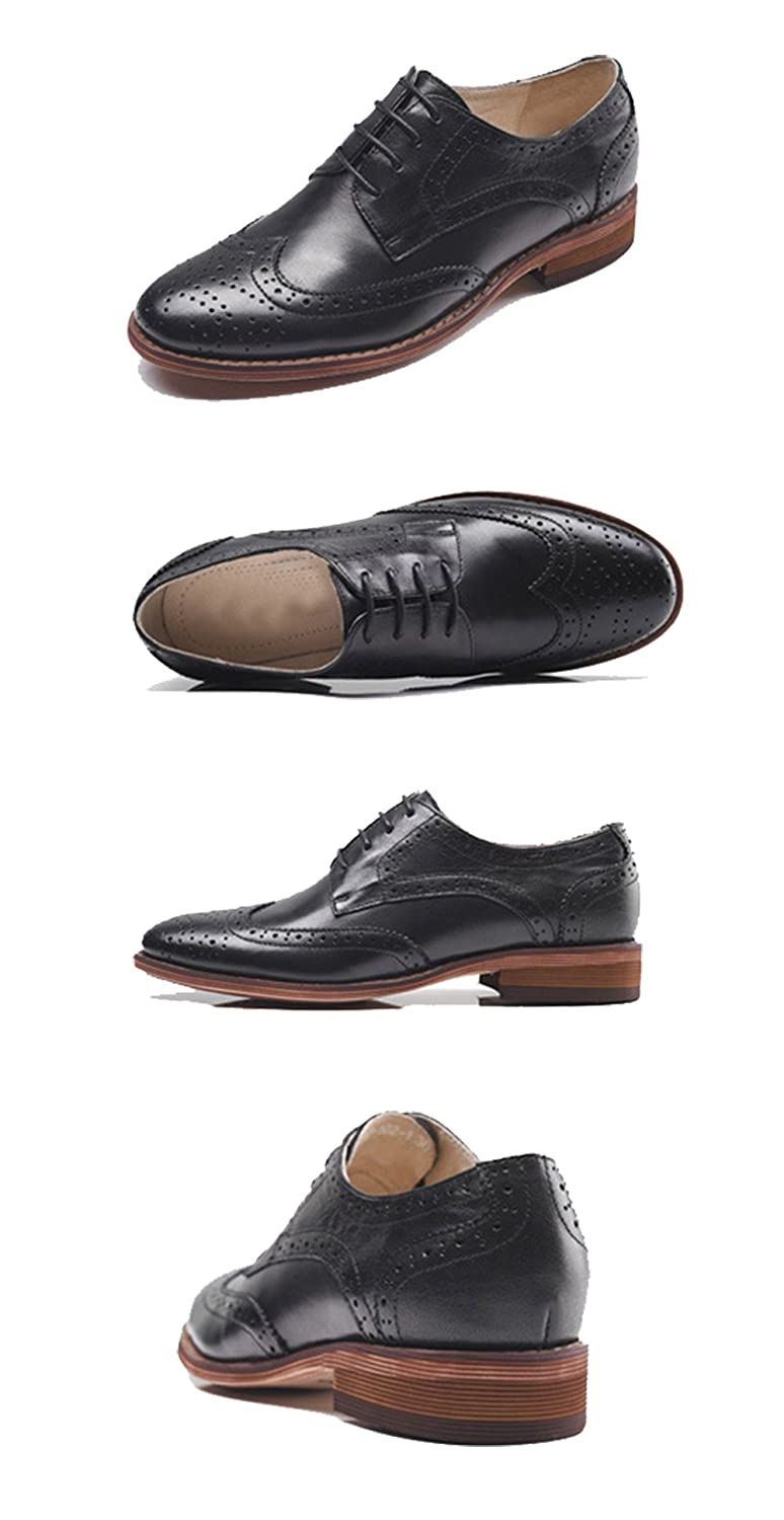 U-lite Womens Perforated Lace-up Wingtip Pure Color Leather Flat Oxfords Vintage Oxford Shoes