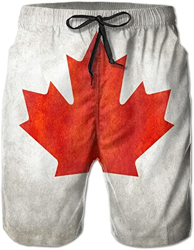 PIN Lightweight Quick Dry Red Maple Leaf Canadian Flag Beach Shorts Swim Trunks Beach Pants