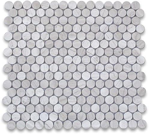 Stone Center Online Athens Silver Cream Haisa Light White Wood Vein Marble 3 4 Penny Round Mosaic Tile Polished Kitchen Backsplash Bathroom Shower Floor Tile Amazon Com
