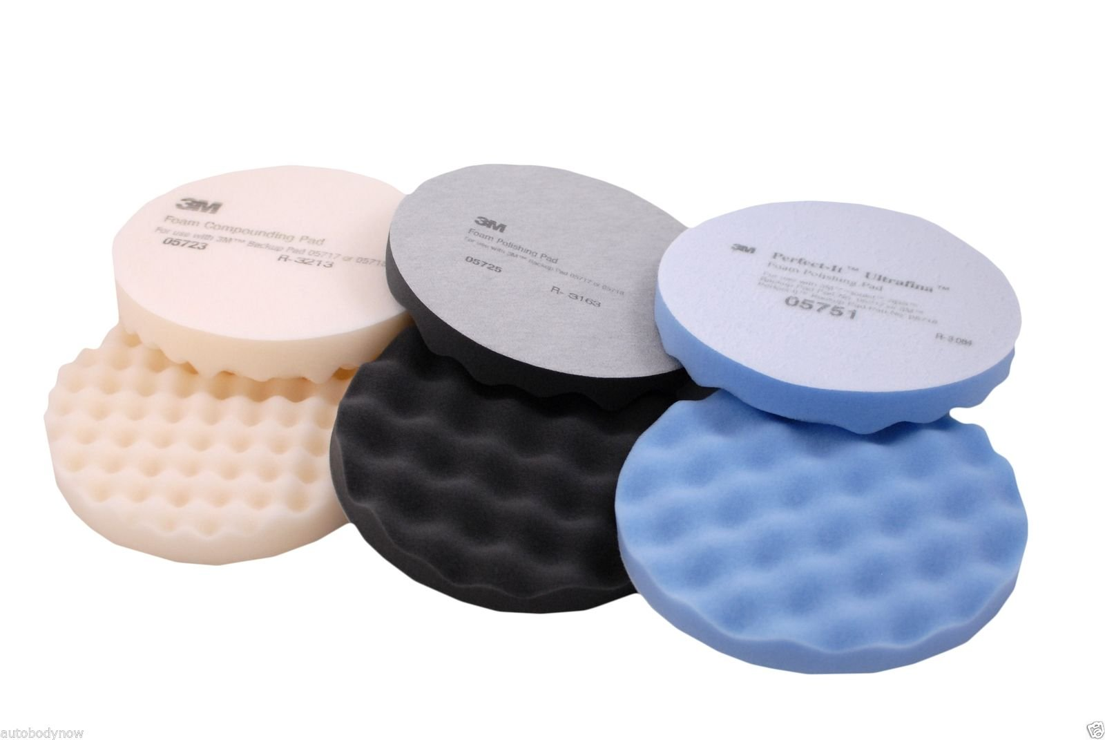 3M Buffing Pads 2 Each: 05723, 05725 & 05751 Hookit Polish Compound by 3M (Image #1)