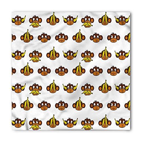 Ambesonne Unisex Bandana, Nursery Funny Monkeys Bananas, Brown Yellow