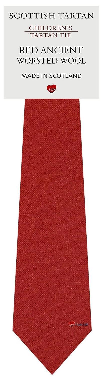 Boys Clan Tie All Wool Woven in Scotland Plain Ancient Red Tartan I Luv Ltd