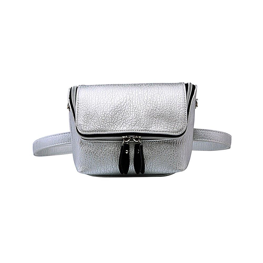 Badiya Damen Bauchtasche aus Leder, Silber (Silber) - WP05706