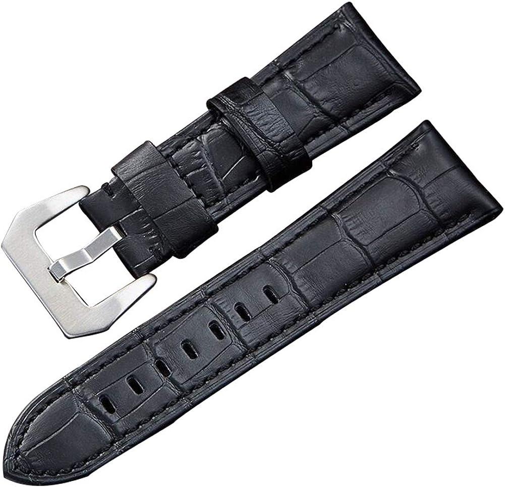 Cuero Genuino de la Vendimia Correa de Reloj de 2 Piezas de reemplazo en Relieve-Reloj aligátor con Hebilla de Plata Inoxidable