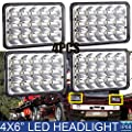 4X6 LED Headlights For Trucks Freightliner FL60 FL70 FL80 Classic FLD120 FLD112 - Rectangular Square Clear Sealed Beam H4651/H4642/H4652/H4656/H4666/H4668/H6545 Replacement Package of 4