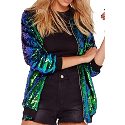 61f4fed76ed6 SYTX Womens Slim Fit Full Zipper Sequins Stand Collar Baseball Jacket