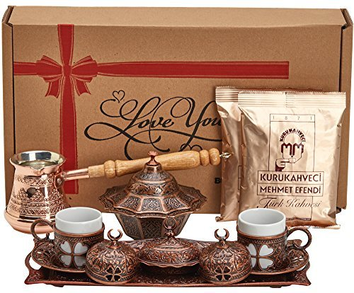 BOSPHORUS 16 Pieces Turkish Greek Arabic Coffee Making Serving Talent Set with Copper Pot Coffee Maker, Cups Saucers, Tray, Sugar Bowl & 6.6 Oz Coffee