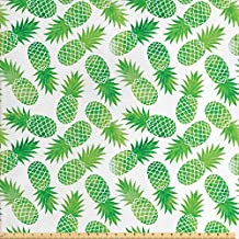 Pineapple Decor Fabric by the Yard by Ambesonne, Ombre Watercolor Scattered Pineapples in Different Directions on Plain Pattern Print, Decorative Fabric for Upholstery and Home Accents, Green White