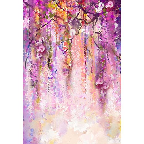 Hanging Flower Wedding Polyester Cotton Photo Background Customize Seamless Waterproof Printed Camera Photography Backdrop 6.5 Ft5 Ft(200cm150cm)