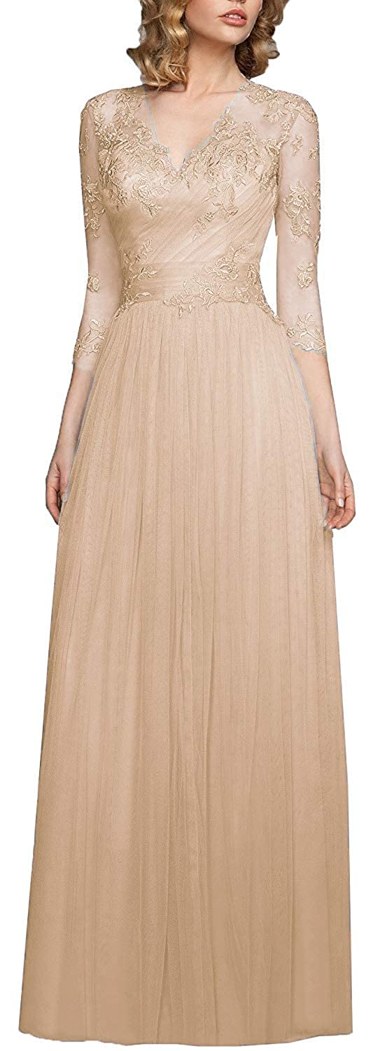 Champagne OkayBridal Women's V Neck Tulle Evening Gowns 3 4 Sleeve Appliques Formal Party Gowns Long