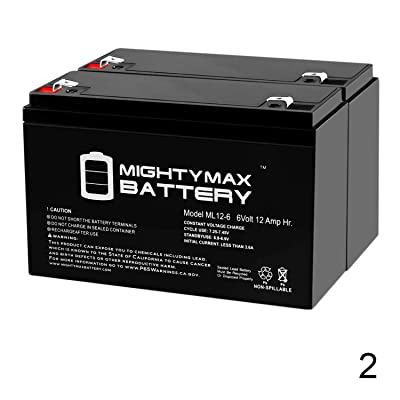 Mighty Max Battery ML12-6 .250TT - 6V 12AH Razor Bumper Buggie Battery - 2 Pack Brand Product: Electronics