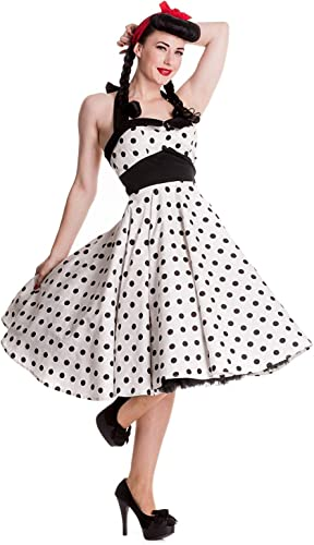 Hell Bunny Polka Dot Rockabilly – Vestido Adelaide 50s – Blanco/Negro (XS – XL)