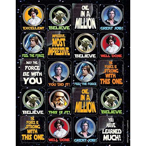 240 STAR WARS Motivational Stickers - YODA - LEIA - LUKE - Han Solo - STORMTROOPER Teacher Rewards EDUCATION Classroom Party Favors