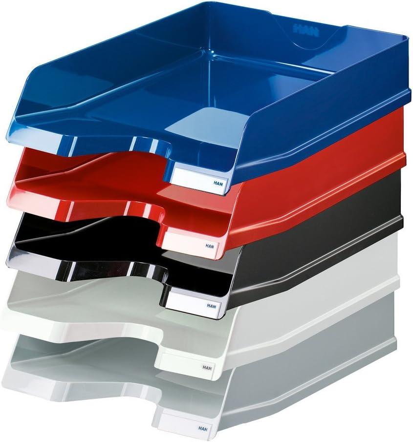 schwarz HAN Briefablage VIVA mit Clip DIN A4//C4 hochgl/änzend stapelbar