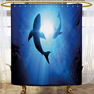 Shark Hotel Style Shower Curtain 55x84 INCH Underwater World with Fish Silhouettes Circling in The Sea Surreal Ocean Life Print Shower Curtain with Hooks Royal Blue