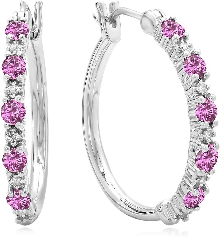 Dazzlingrock Collection - Pendientes de aro de plata de ley con diamantes blancos y gemas finas para mujer