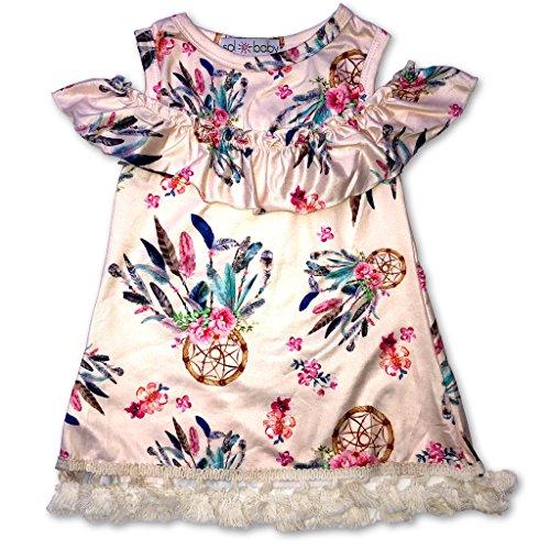 er Ruffle Dreamcatcher Fringe Trim Dress-3/6m-Beige ()